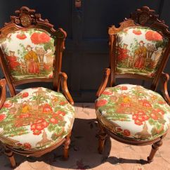 Eastlake Victorian Parlor Chairs Swivel Chair Meaning Pair Of Antique Accent