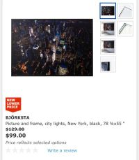 IKEA BJRKSTA Picture and frame, city lights, New York.j ...