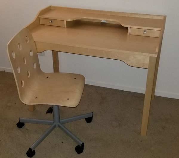 desk chair offerup back supports solid wood ikea gustav office with for sale in northville, mi -