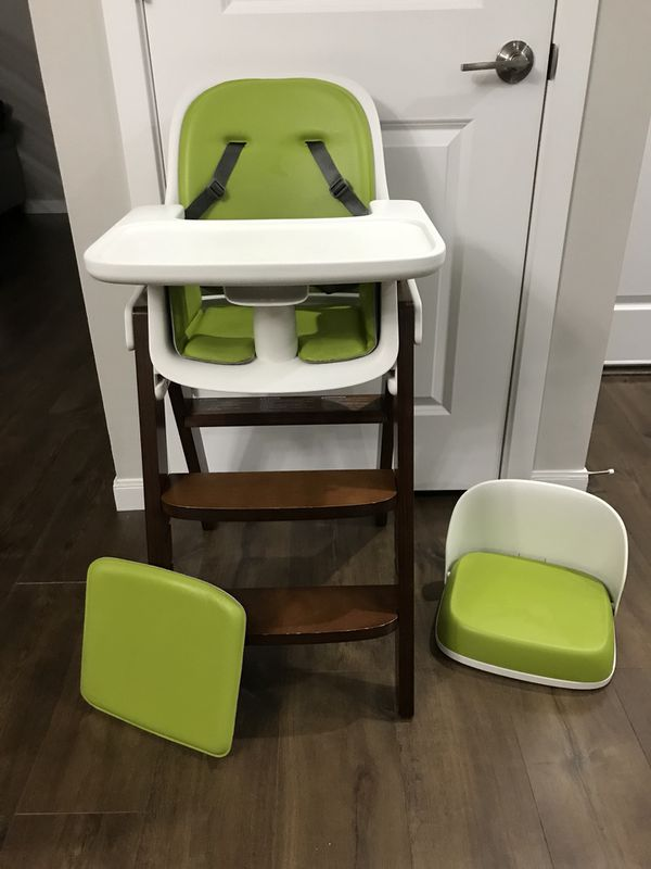 green high chair kids leather oxo tot sprout walnut booster seat for sale in