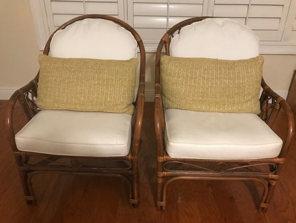 bamboo chairs for sale folding chair desk combo pair of rattan with cushions good condition in delray beach fl offerup