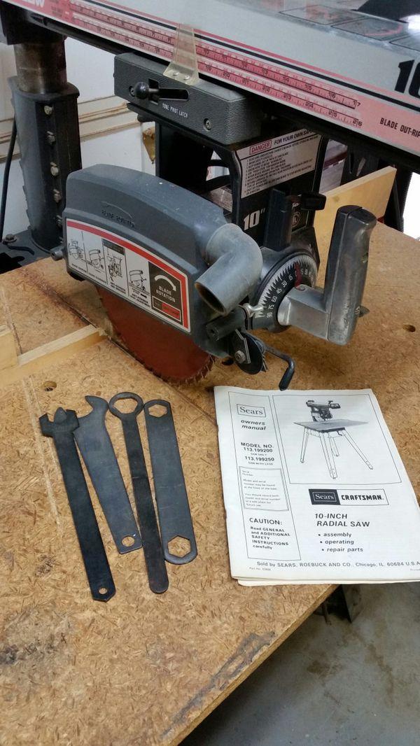 Craftsman 10 Inch Radial Arm Saw 25 Hp Manual