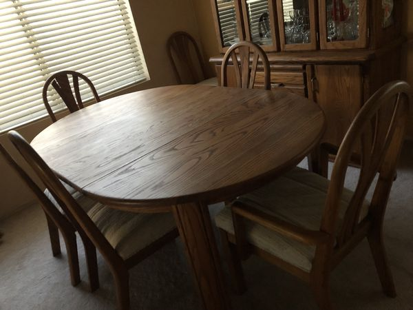 used oak table and chairs white river lawn concert hutch moving sale for in tucson az