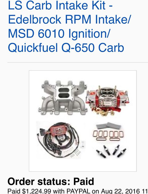 msd 6010 wiring harness 2002 toyota corolla car stereo diagram new ls carb intake kit edelbrock rpm ignition quick fuel q 650 carburator