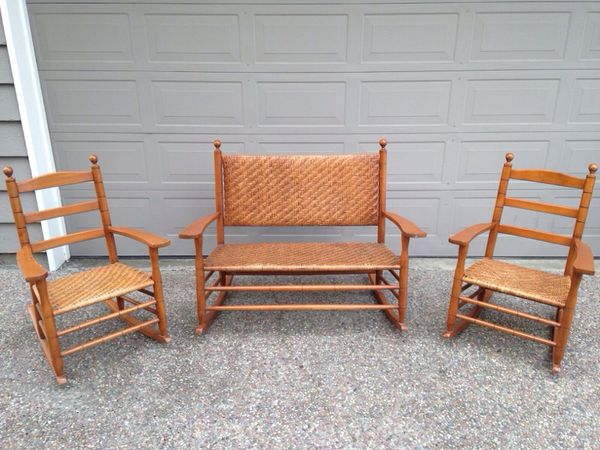 rocking chair height library lounge mottville works bench and 2 chairs for sale in