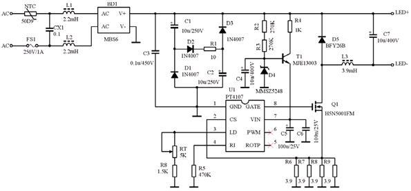 华润矽威:全电压20W日光灯开关恒流源PT4107_DB03