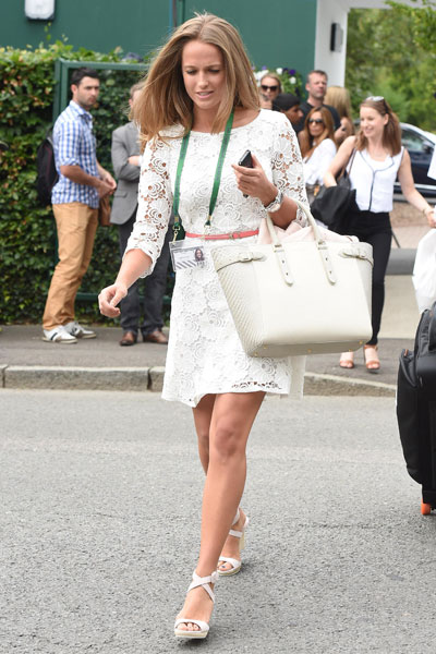 On Monday, Kim Sears opted for a white lacy Reiss dress [Wenn]