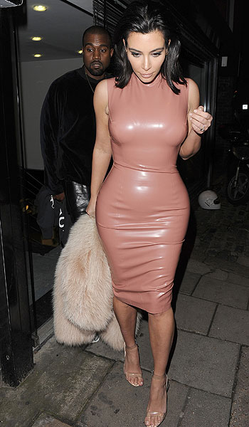 Kim Kardashian was spending the evening with her husband out and about in London [Wenn]