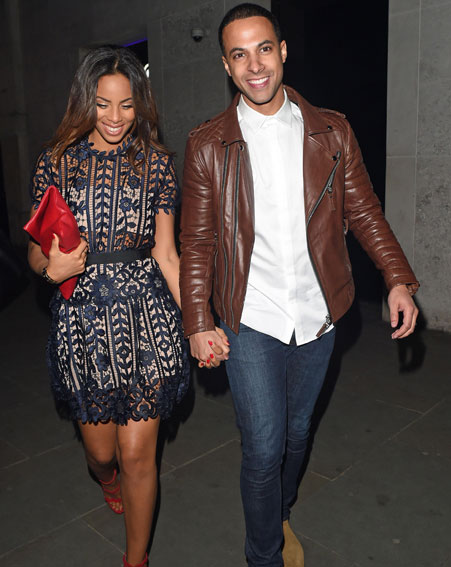 Rochelle Humes from The Saturdays joins Marvin Humes for birthday celebrations in London