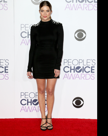 Ashley Benson keeps it simple in a long sleeved black dress [Getty]