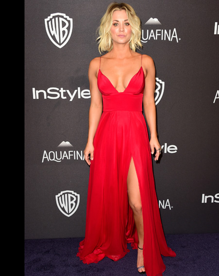 Kaley Cuoco looks red hot at the InStyle and Warner Bro's post-party [Getty]