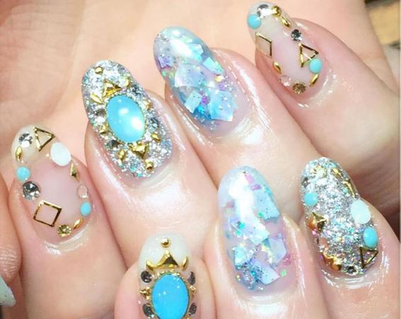 One of the latest nail trends is a stone effect – no longer will a ring be your most precious jewellery [Chiho Asami Nail Salon/Instagram]