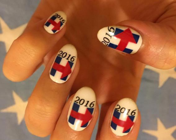 Katy Perry uses her nails to show support for US presidential candidate Hillary Clinton [Katy Perry/Instagram]