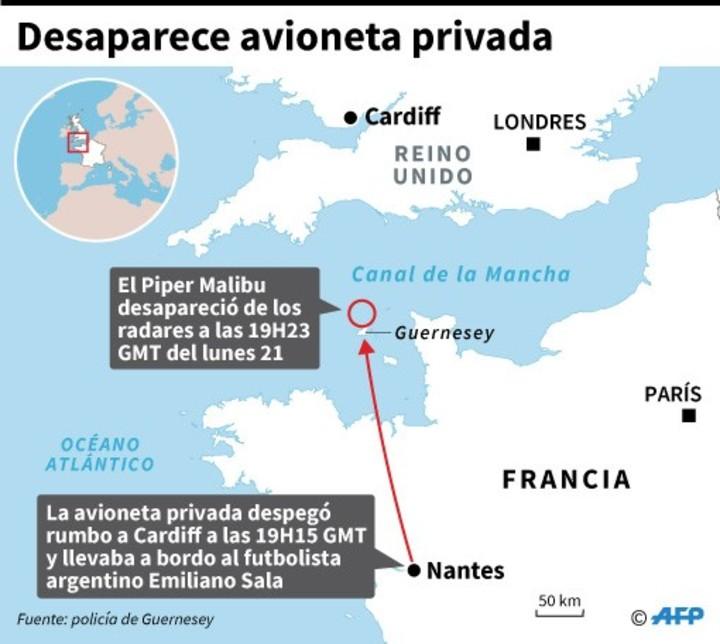 Localización de la avioneta privada que desapareció en el Canal de la Mancha y en la que viajaba el futbolista argentino Emiliano Sala.