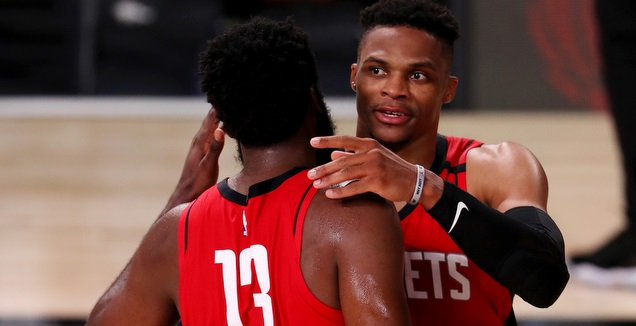 Russell Westbrook and James Harden celebrate big victory (Reuters)