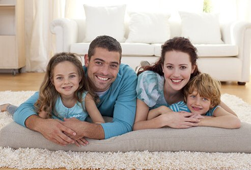 A family relaxes in their living room.