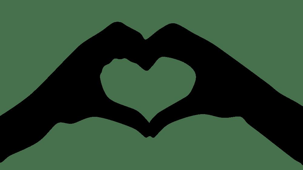 Download OnlineLabels Clip Art - Heart Hands Silhouette