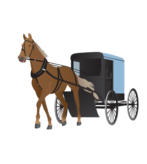 Onlinelabels Clip Art - Amish Buggy And Horse