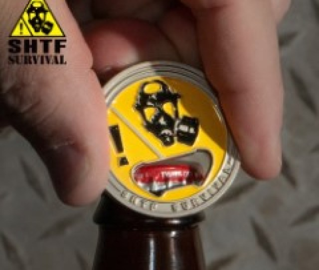 Shtf Challenge Coin Bottle Opener Silver Finish Crafted Of Metal Alloy Detailed D
