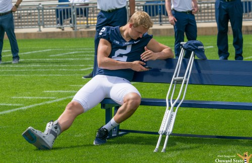 Tommy Stevens Seen Wearing Walking Boot At Photo Day