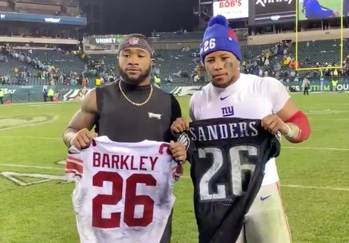 Saquon Barkley, Miles Sanders Swap Jerseys Following Giants-Eagles Game