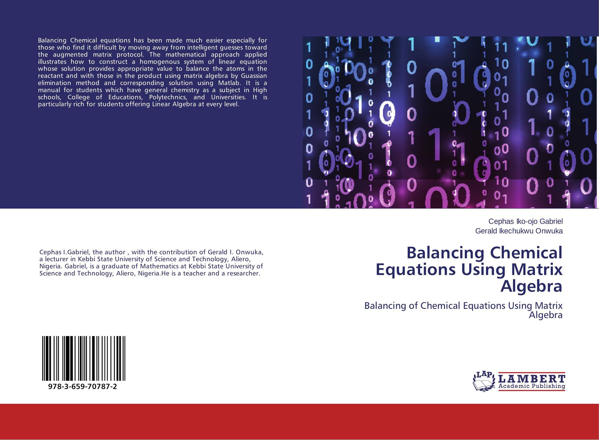 Balancing Chemical Equations Using Matrix Algebra 978 3 659 2
