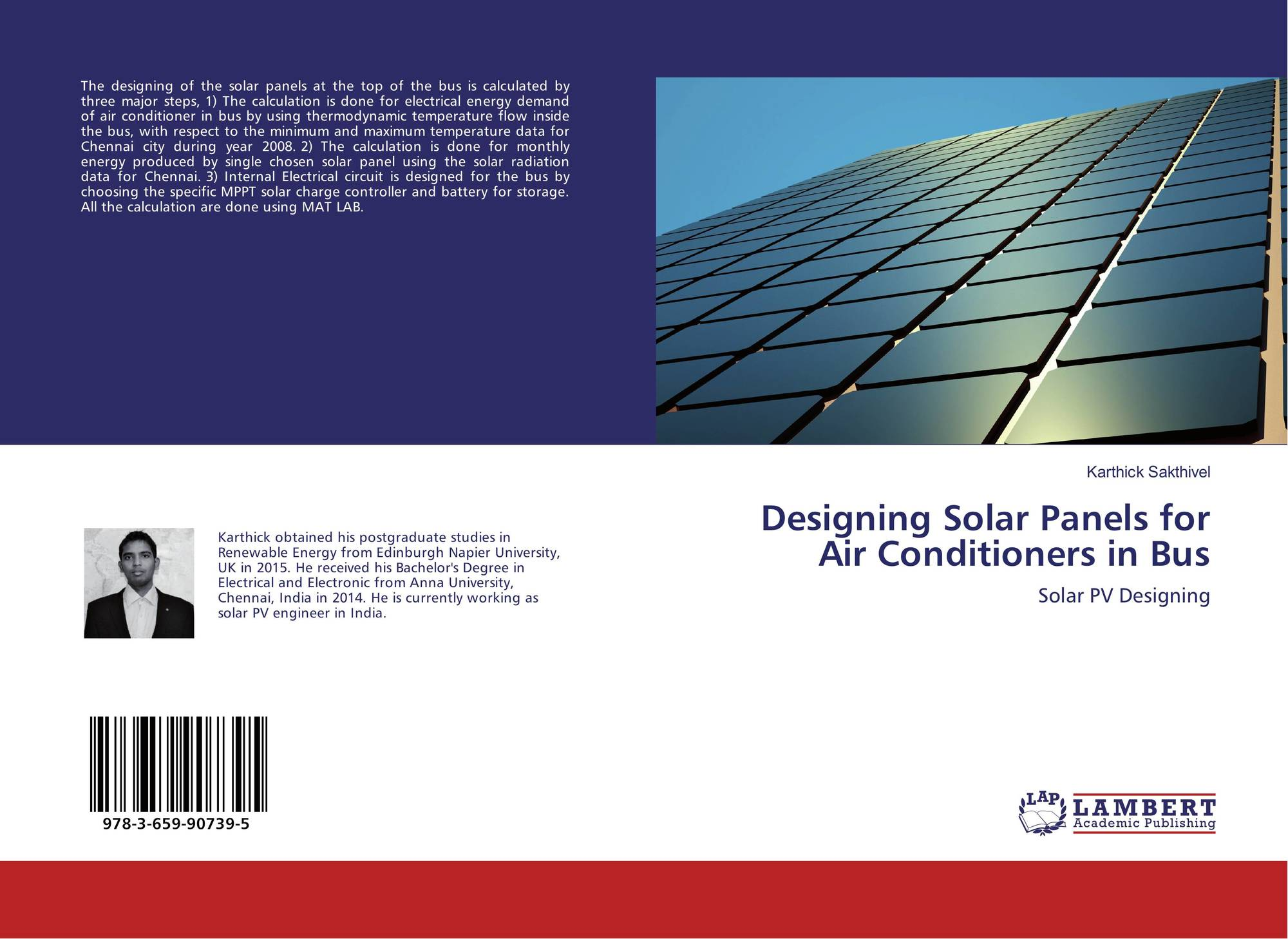 hight resolution of bookcover of designing solar panels for air conditioners in bus 9783659907395