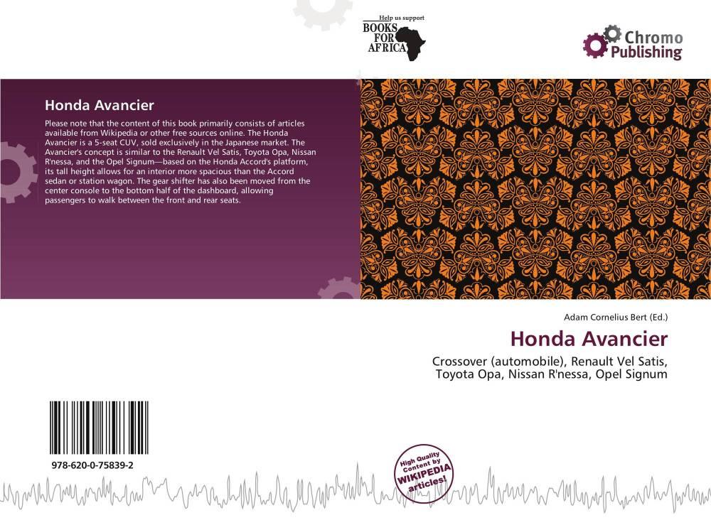 medium resolution of bookcover of honda avancier