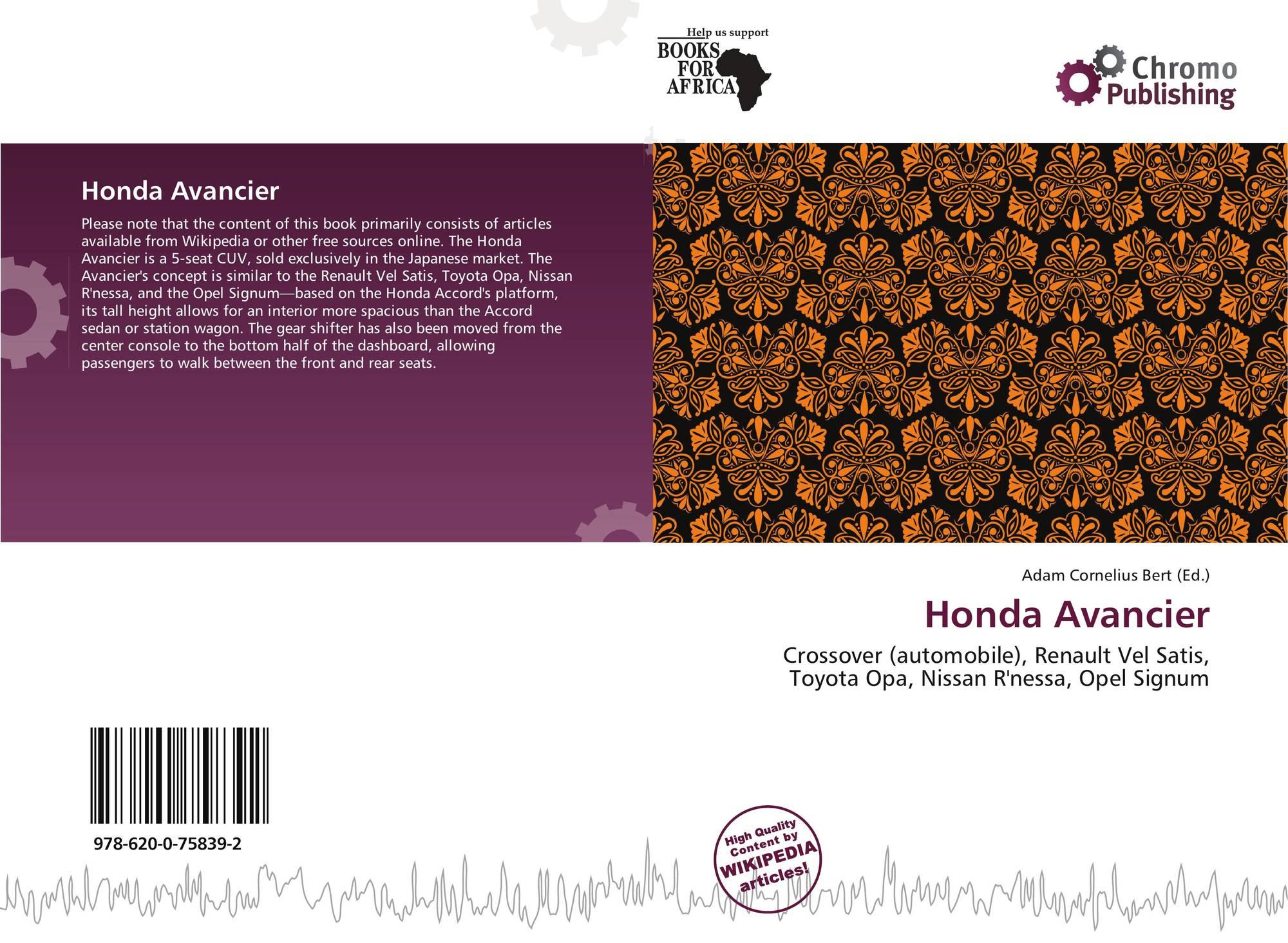 hight resolution of bookcover of honda avancier