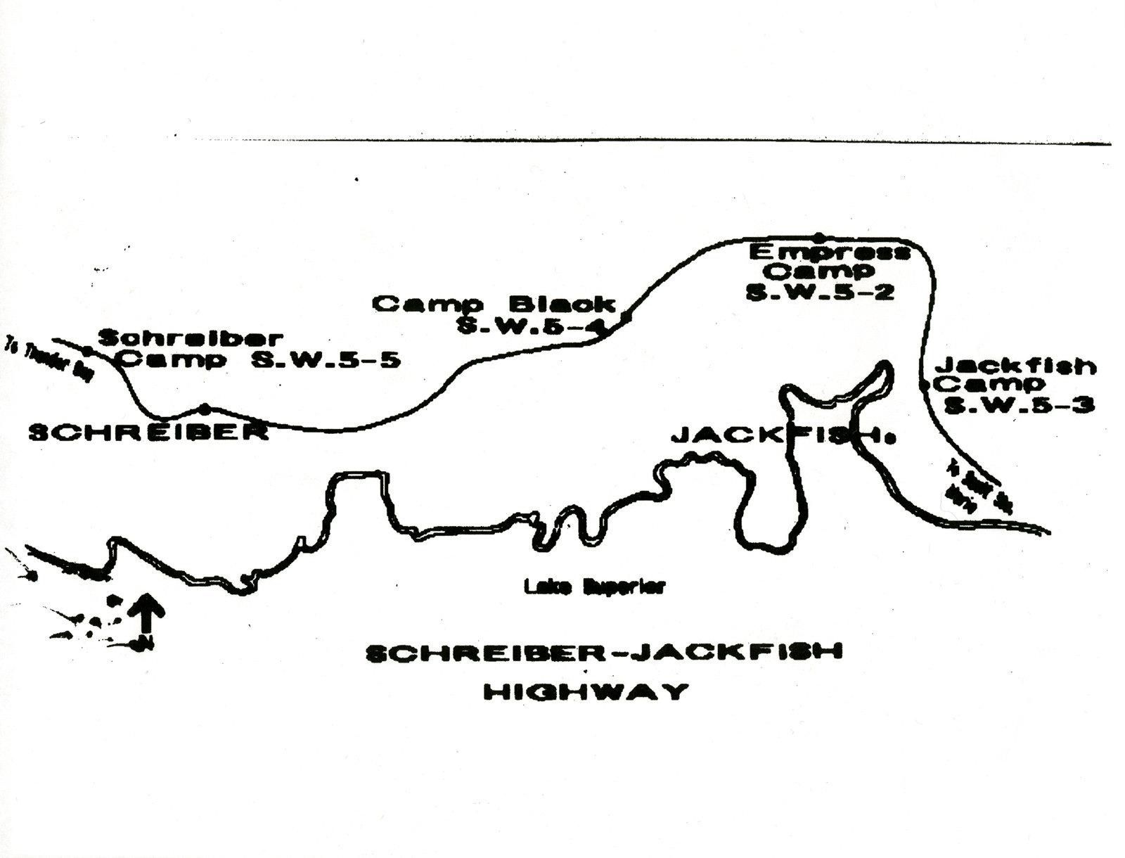Map of Highway from Schreiber to Jackfish: Schreiber Rail