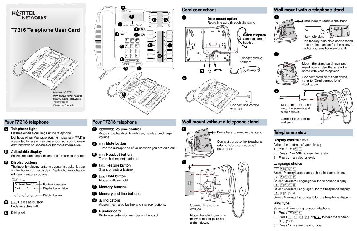 Nortel Networks Cordless Telephone T7316 User's Guide