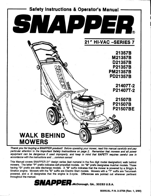 Snapper Lawn Mower 21357B, M21357B, D21357B, P21357B