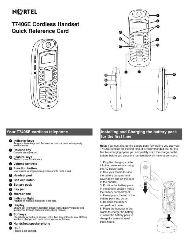 Nortel Networks Cordless Telephone T7406E User's Guide