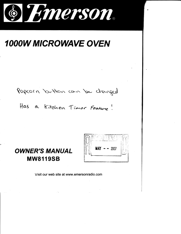 Emerson Microwave Oven MW8119SB User's Guide