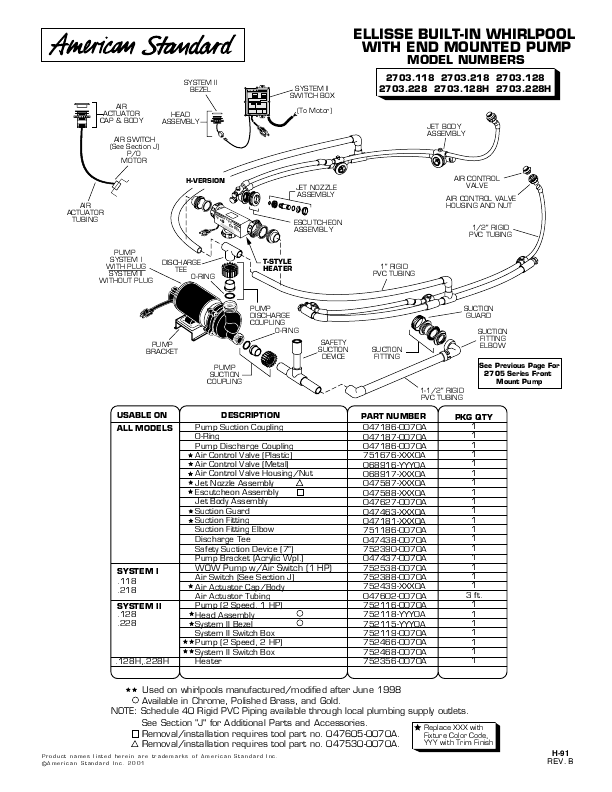 American Standard Hot Tub 047587-XXX0A User's Guide
