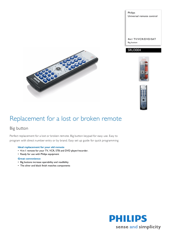 Philips Universal Remote SRU3004 User's Guide
