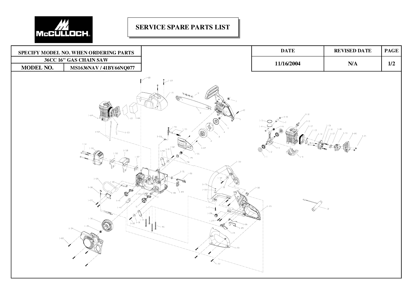McCulloch Chainsaw MS1636NAVCC User's Guide