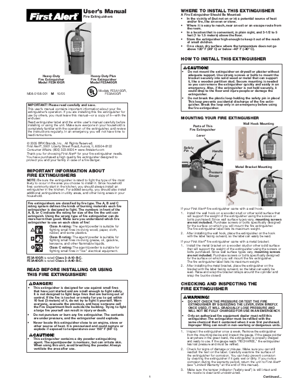 First Alert Fire Extinguisher FE3A40GR User's Guide