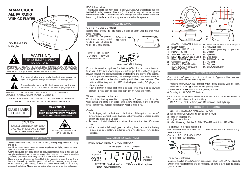 Onn Alarm Clock Radio Instructions
