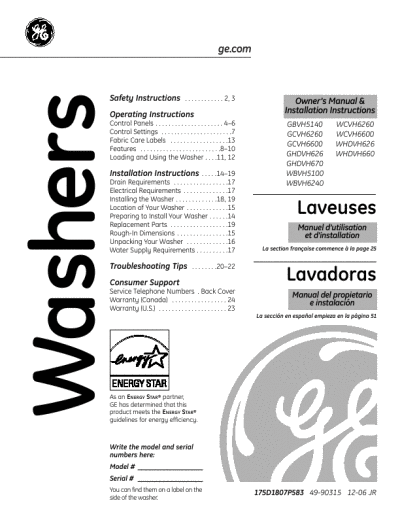 Front Load Washers: Ge Front Load Washers Problems