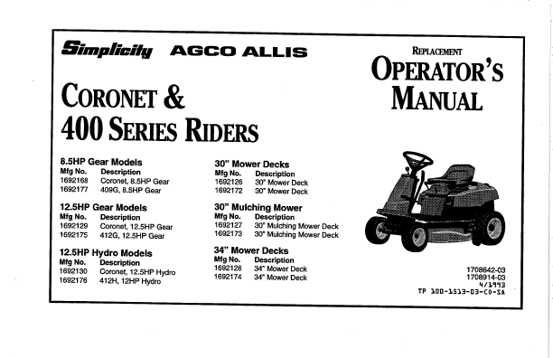 Simplicity Lawn Mower Coronet Series User's Guide
