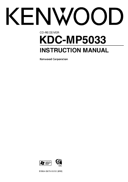 Kenwood CD-RECEIVER INSTRUCTION MANUAL UKDC-X7533U, KDC