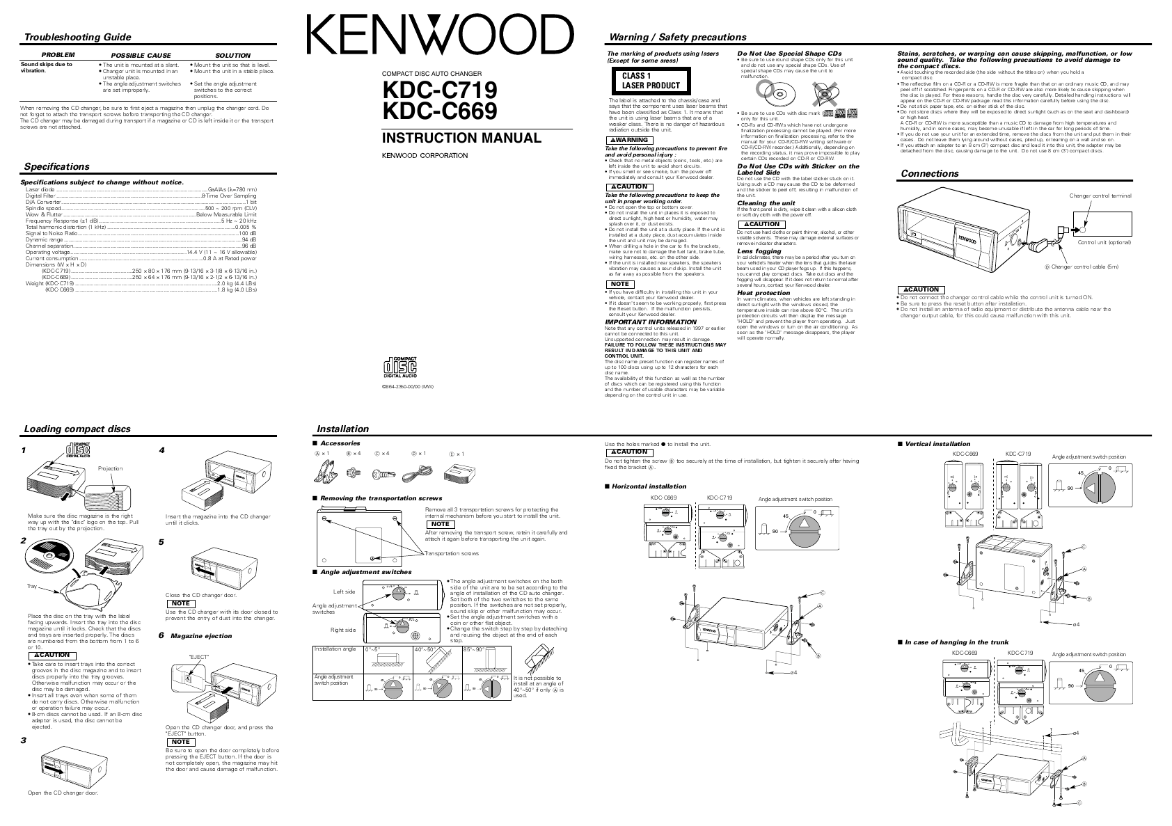 Kenwood Car Stereo System KDC-C719 User's Guide