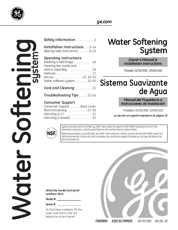 Water Softener: Ge Water Softener Smart Water Manual