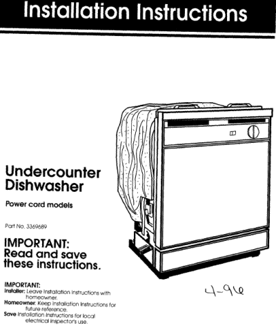 Dishwasher Whirlpool Quiet Partner Ii Instruction Manual