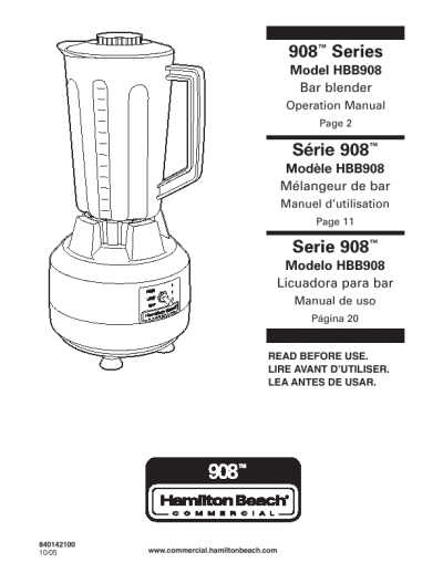 Operation Manual HBB908 Hamilton Beach Bar Blender