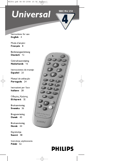Philips Universal Remote SBC RU 254 User's Guide