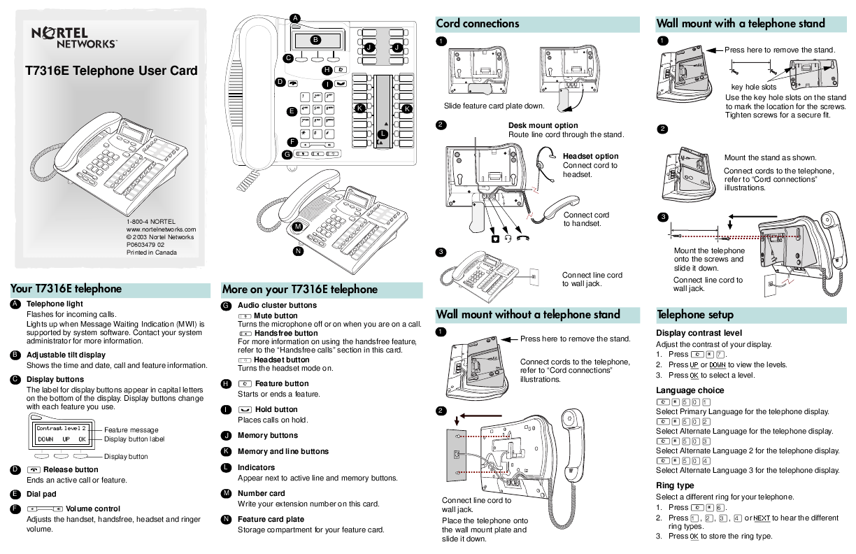 Nortel Networks Cordless Telephone T7316E User's Guide