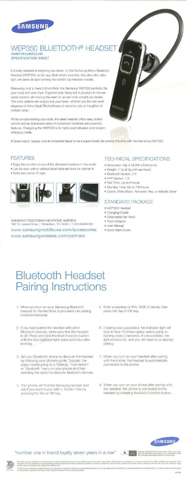Samsung Bluetooth Headset WEP350 User's Guide
