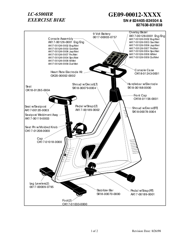 Life Fitness Exercise Bike Parts List